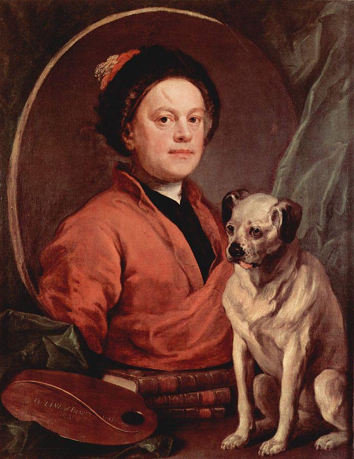 William Hogarth, in un autoritratto del 1745