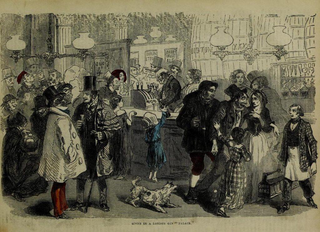 Illustrazione dell'interno di una gin palace londinese