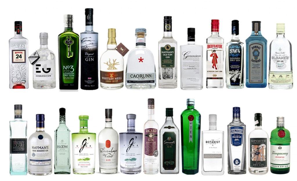Una selezione di gin britannici