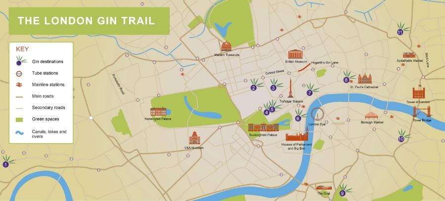 La mappa del London Gin Trail
