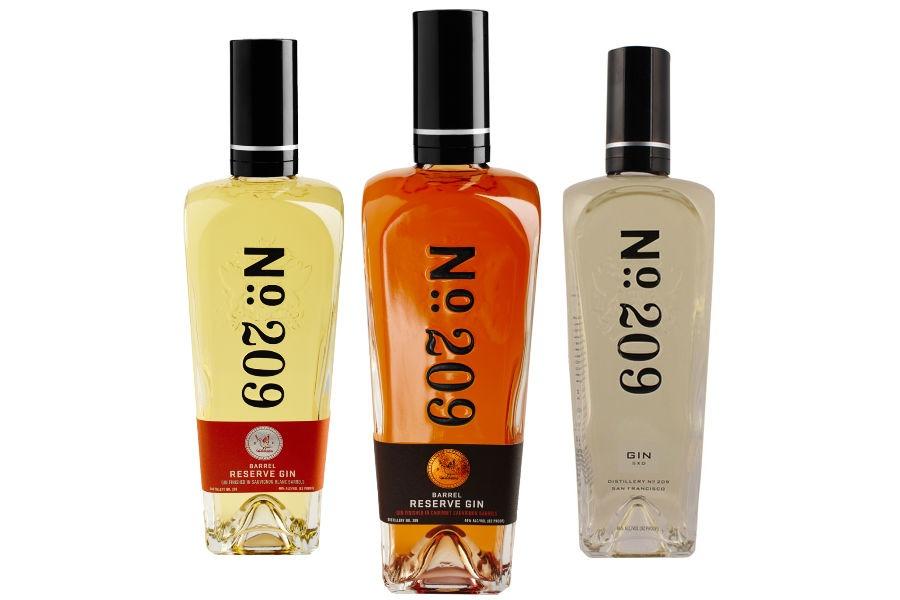 La tre varianti riserva del Number 209 Gin: Sauvignon Blanc Barrel Reserve, Cabernet Sauvignon Barrel Reserve e Chardonnay Barrel Reserve