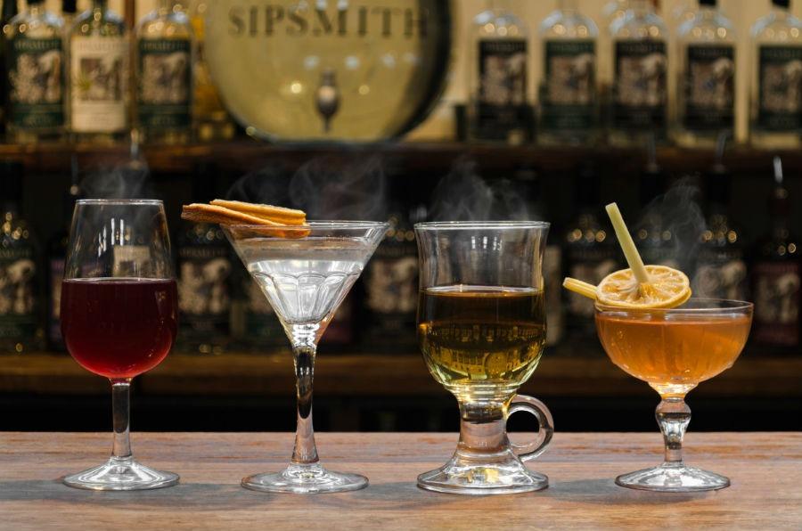 Alcuni dei cocktail disponibili nel pop up bar di Sipsmith e l'Ham Yard Hotel