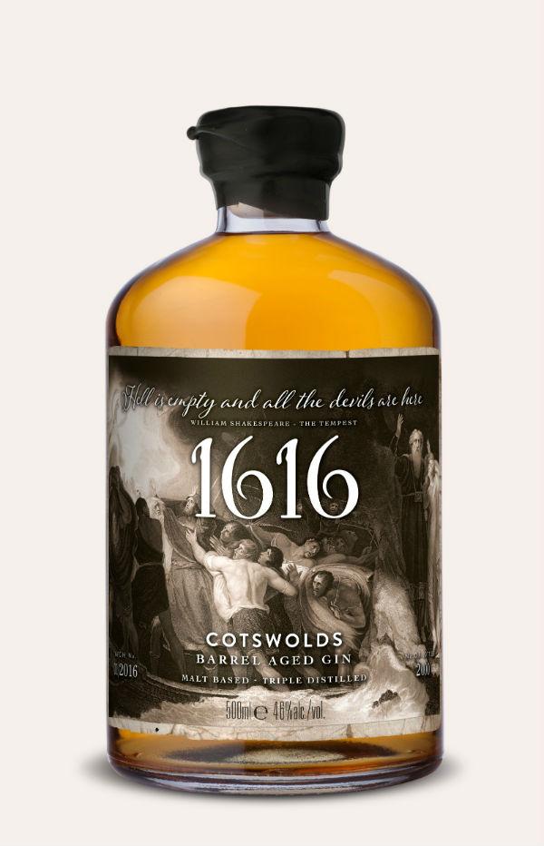 La bottiglia di 1616 Gin, il gin in onore di Shakespeare
