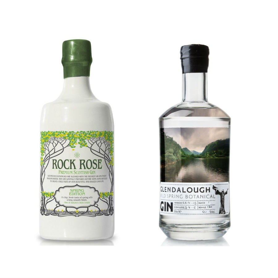 Le bottiglie di Rock Rose Spring Edition e Glendalough Wild Spring Botanical Gin