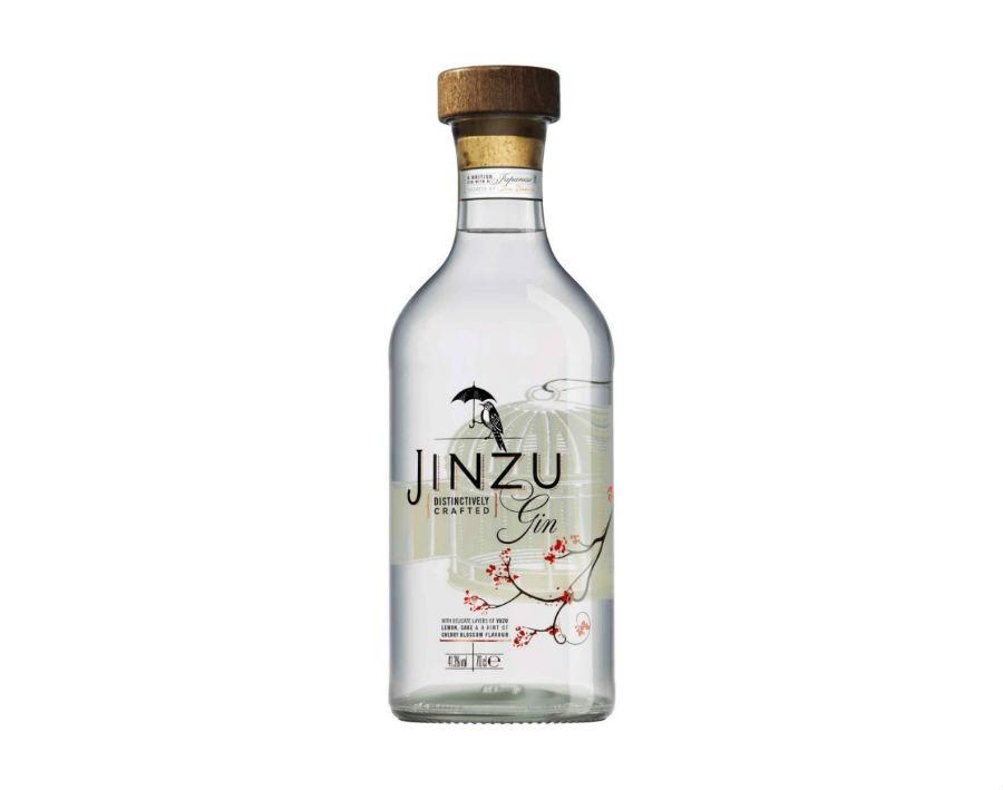 La bottiglia di Jinzu Gin in una immagine pubblicitaria