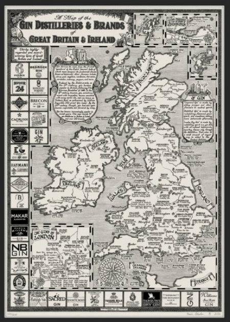 """Gin Map of Great Britain & Ireland"" di Kevin Sheehan"