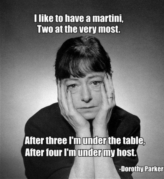 Famosa citazione di Dorothy Parker sul Martini