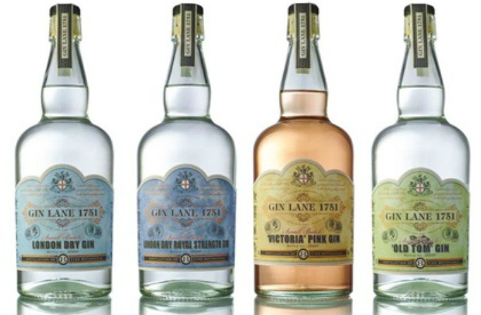 La gamma Gin Lane 1751: London Dry, Royal Strength, Victorian Pink Gin e Old Tom