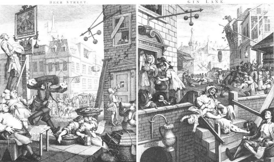 Beer Street e Gin Lane a confronto