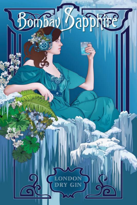 Un'immagine pubblicitaria di Bomaby Sapphire London Dry Gin