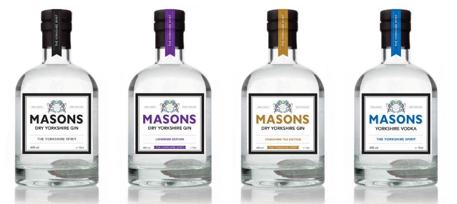 La gamma di Masons Dry Yorkshire gin